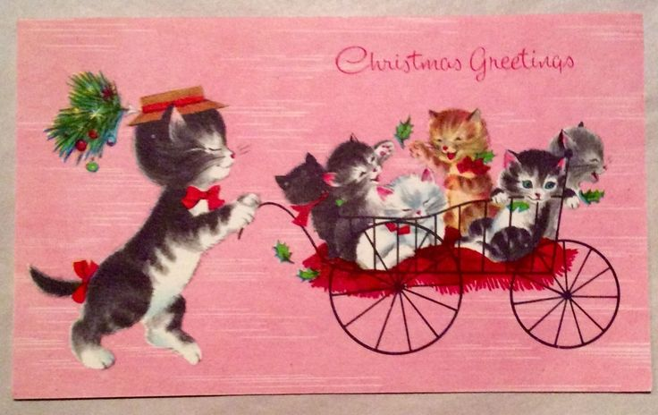 """Mama Cat pushing her. C irca 1950's ~ Hampshire. This card is signed. Single Fold ~ Measures 3 1/2"""" x 6"""". you an invoice.   eBay!"""