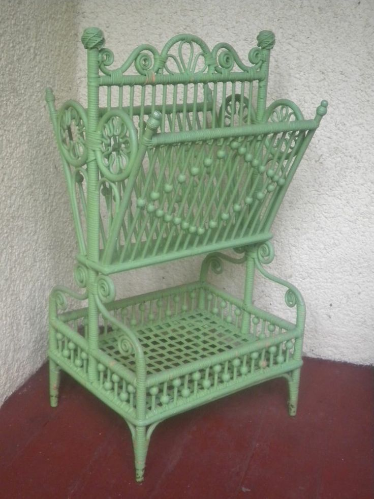 Ornate Antique Victorian Wicker Stick and Ball Sheet Music Stand Circa 1890's