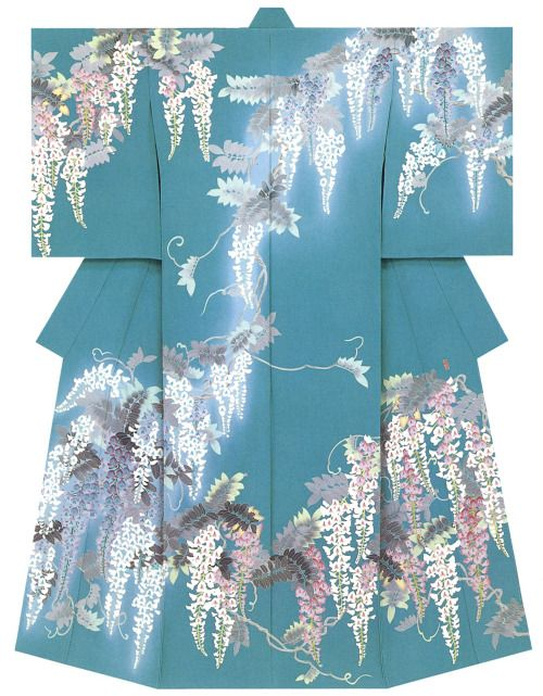 "kagayuzen: "" Kaga-Yuzen Kimono 藤の花"