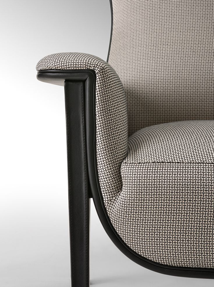 Sneak peek of Salone del Mobile 2015 Milano Fendi Casa collection. Cerva armchair by Dimitri Rybaltchenko - closeup detail, leather and fabric beautiful combination #LuxuryLiving #Saloni2015