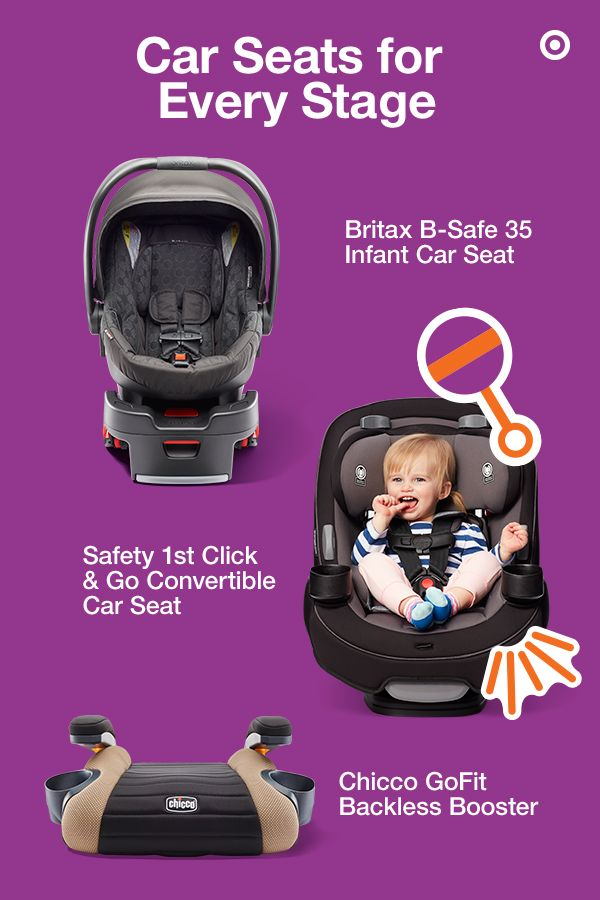 Looking for the perfect baby gear for your new arrival? The first piece of gear you'll need is an infant car seat. The lightweight Britax B-Safe 35 infant car seat has a 5-point harness, side-impact protection and integrated Click & Go system. The Safety 1st Go & Grow 3-in-1 convertible car seat grows with your child from infant to toddler. And, the Chicco GoFit backless booster is the perfect solution for growing kids. Safe and sound—it has a nice ring to it.