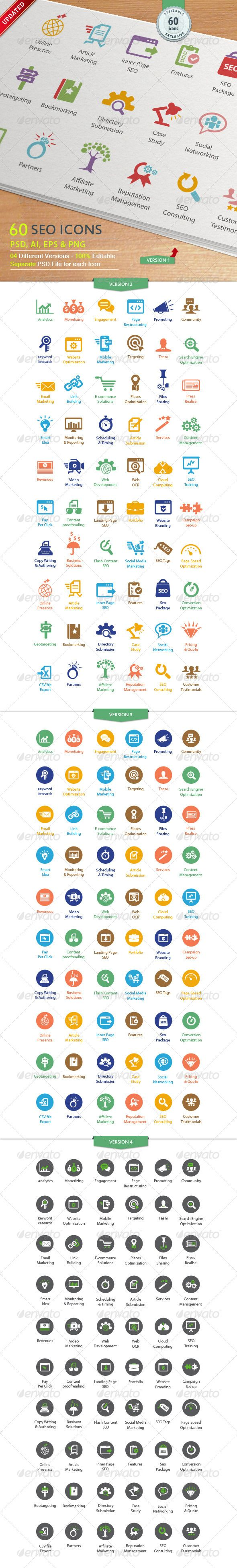 SEO Services Icons - Business Icons