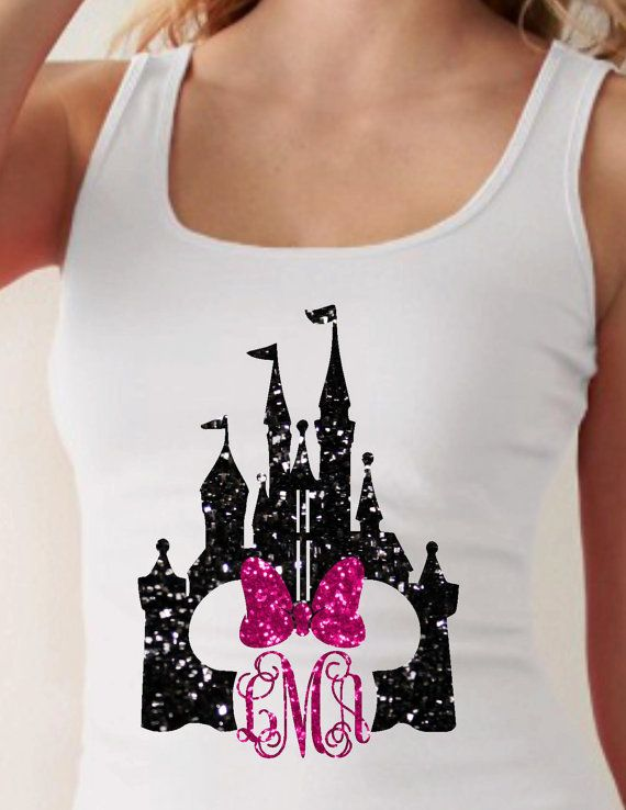 Everyone loves Disney shirts. This design is the Castle with Minnie bow with and a monogram. We use either fitted Kohls brand tanks along with heat transfer vinyl or glitter heat transfer vinyl for the design. We only have white tank tops in stock. We have one listed in stock, but do have more than one available. Please send me a convo to see if I have the size you need in stock if you need more than one tank. Please list initials in this order first, LAST, middle. See example below. The…