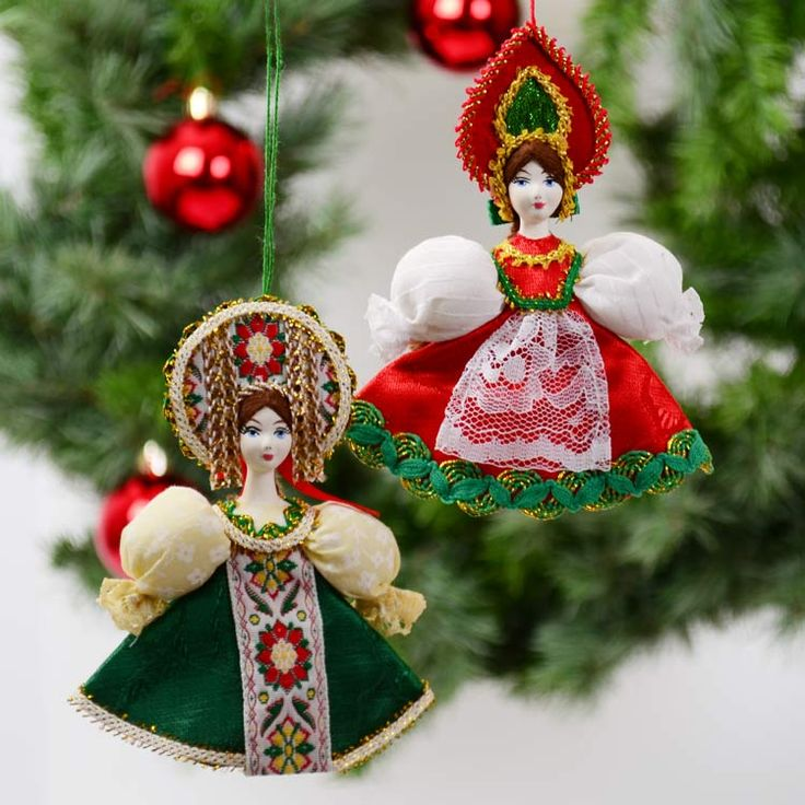 Porcelain Russian Doll Ornament Set