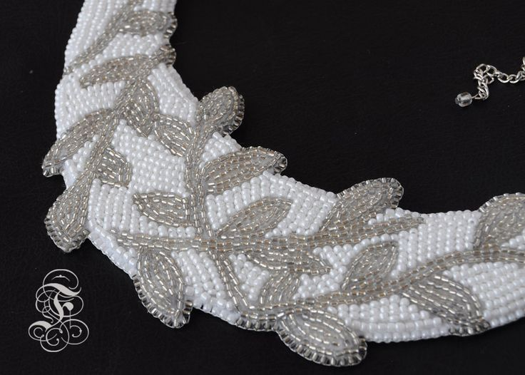 'Crystal Ivy' bead embroidered necklace perfect for brides