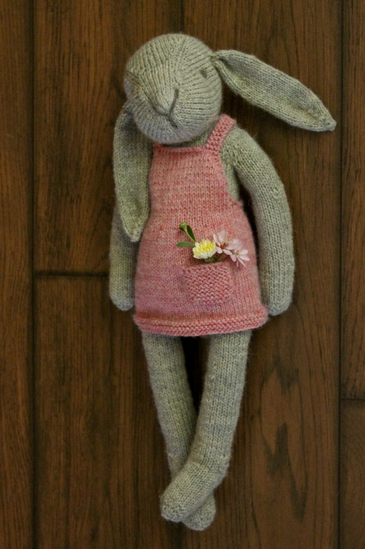 """""""Claire the Hare"""" PDF knitting pattern softie plush toy ragdoll by Rhonda Potteet of Thread Bears®"""