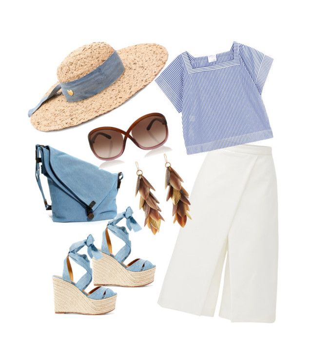 """""""Summer by the sea"""" by amaliamatei on Polyvore featuring TIBI, Stella Jean, Ralph Lauren, Betsey Johnson, Tom Ford, Ashley Pittman and stripedshirt"""