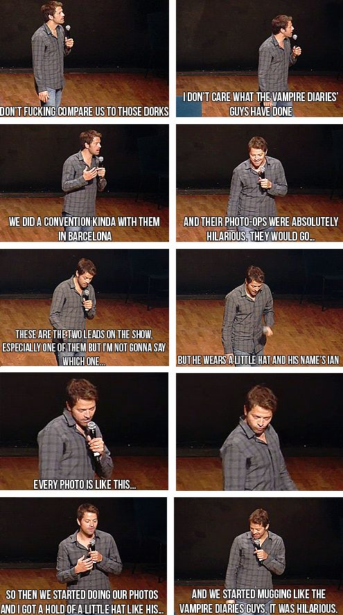 ''And we started mugging like the Vampire Diaries guys, it was hilarious.''   I absolutely love that he made fun of Ian