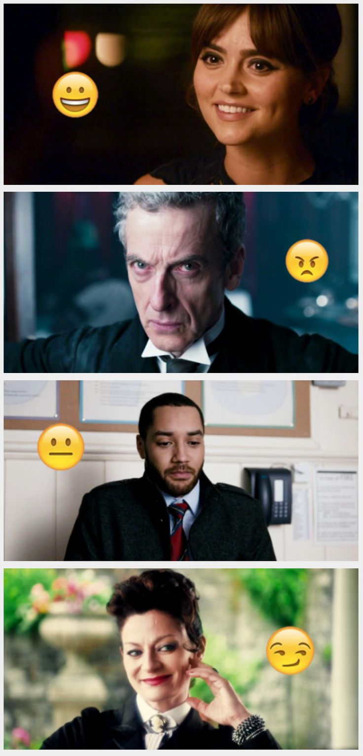 Emojis of the Doctor Who characters.(Twelfth Doctor,Clara Oswald, Mr.Pink and Missy)
