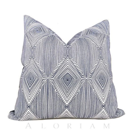 Nate Berkus Navy Blue White Geometric Diamond Pattern Pillow Cover
