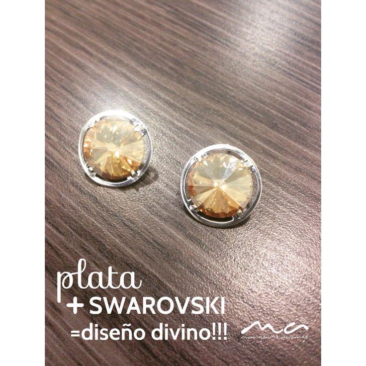 Aretes en Plata ley 925 hecho a mano con cristales de swarovski