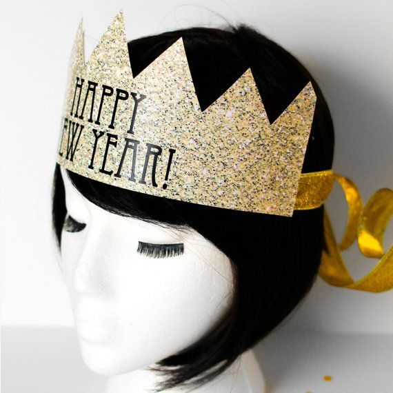 Instant Download - TWO Styles of New Years Eve Crowns - New Year's Eve Hat - Faux Glitter - DIY Party Hat - Happy New Year Decorations