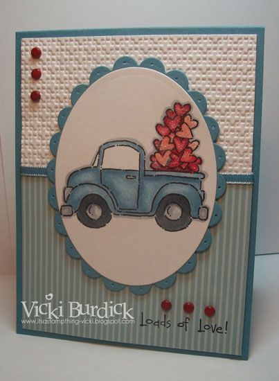 Scalloped and Standard Circles: Card Idea, Pickup Trucks, Old Trucks, Cute Card, Cards Valentine, Love Card, Stamps Sets, Paper Crafts, Masculine Valentine Day Card