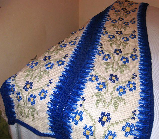 Morning glory afghan: Morning Glories, Glories Afghans, Mornings Glories, Afghan Patterns, Afghans Patterns, Tunisian Crochet, Crochet Patterns, Glenda Winkleman, Crochet Knits