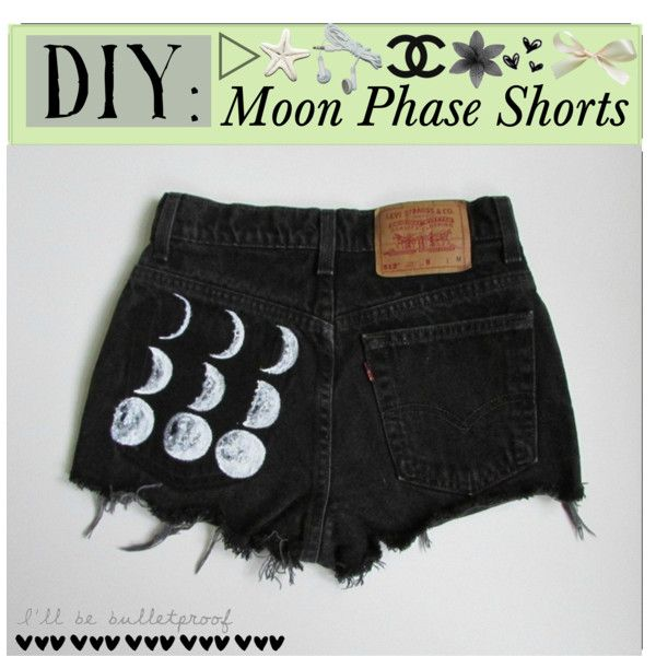 DIY: Moon Phase Shorts, created by thetipfiles on Polyvore