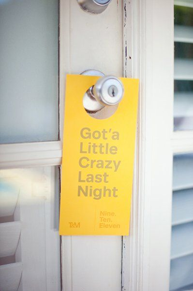 """Really creative """"Do Not Disturb"""" Sign to add to a welcome amenity for a wedding"""