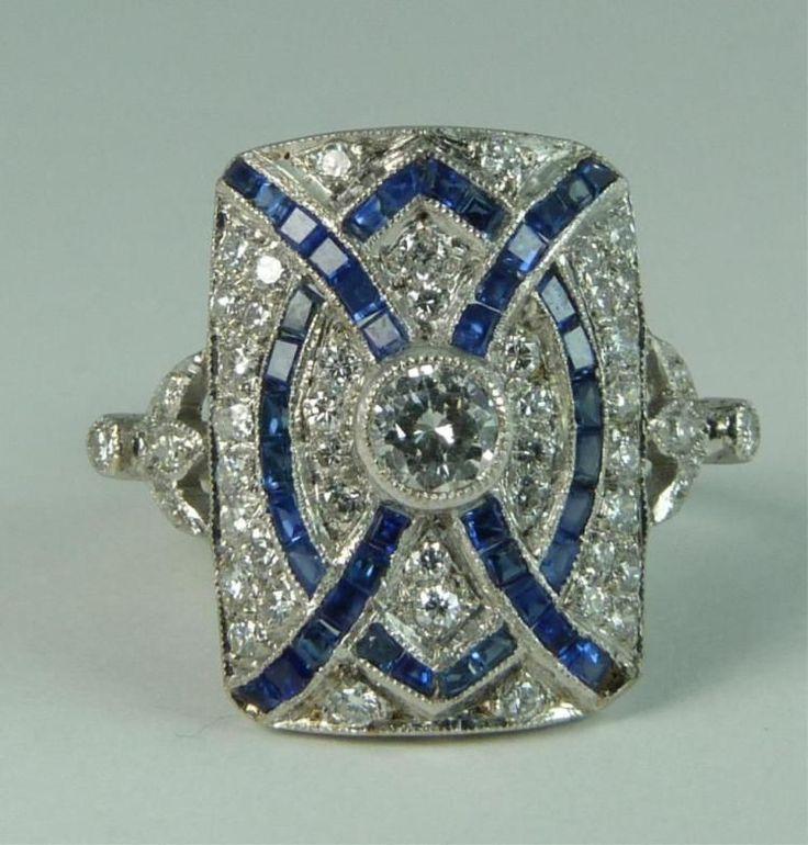 ART DECO STYLE 18K WG DIAMOND AND SAPPHIRE RING - by Elite Decorative Arts