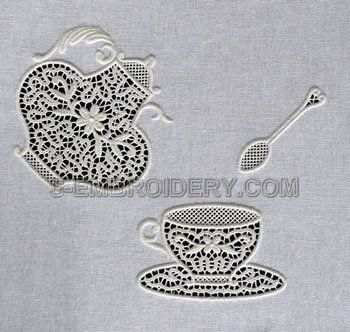 10518 Free standing lace teatime set