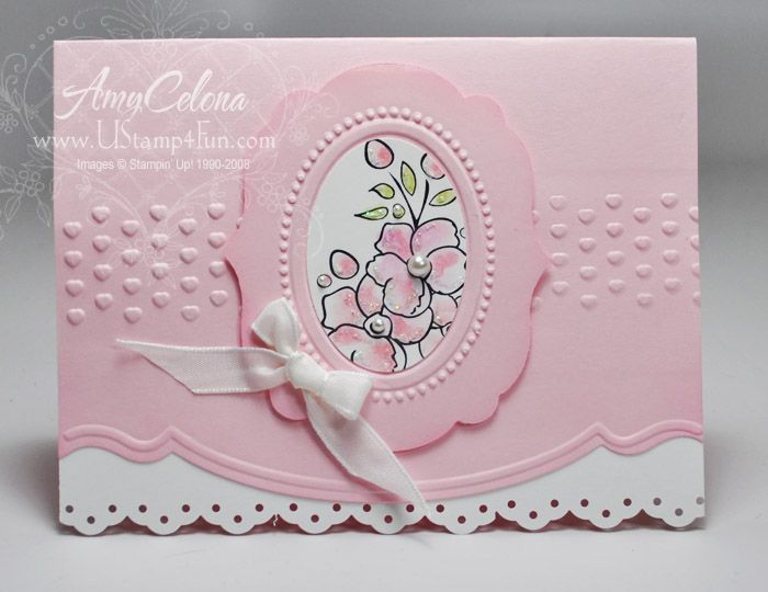 handmade card ... Bordering on Romance ... by Ustamp4fun.com - Amy Celona ...pink and wihite ... luv the embossed and die cut frame ... Stampin' Up!