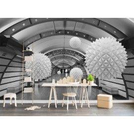Extension d'espace - Papier peint photo moderne trompe l'œil 3D en noir blanc gris - Les boules flottantes dans le tunnel