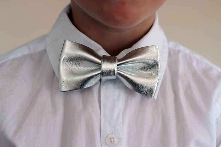 Boys silver leather bow tie for toddlers, silver wedding bow tie, boys bowtie, silver bow tie, wedding bow tie, toddler bow tie, boys bowtie by NevesticaWeddings on Etsy
