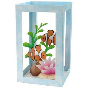 The two swinging clown fish seem like they are actually swimming in the small tank. This papercraft is perfect as a decoration. free directions and downloads at http://cp.c-ij.com/en/contents/2023/aquarium-clownfish/index.html#