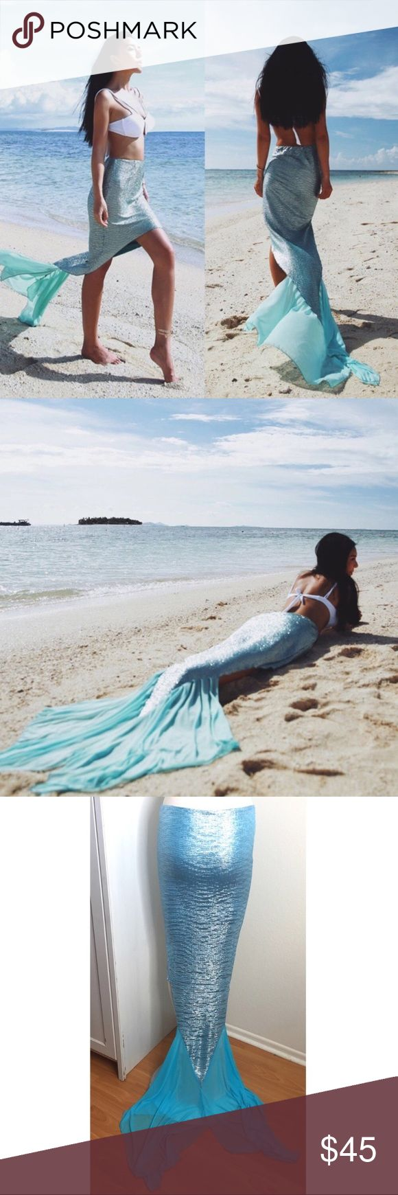 """Mermaid Sarong/ Skirt Cute skirt/ beach cover up in the shape of a mermaid tail. Perfect for the beach, pool party, or even a festival! Back: about 41.5"""" in length not including the sheer tail portion, 60.5"""" including tail. Front: 15"""" in length. About 9-9.5"""" (19"""" waist) top of skirt not stretched. Top of skirt can stretch up to 16"""" (34"""" waist). Measurements taken manually, please allow 1-3% variance. Can probably fit Jean size 23"""" to 29"""". Please compare your measurements before purchasing…"""