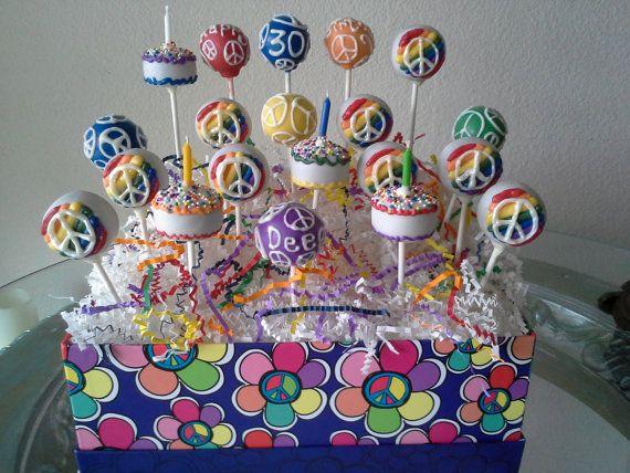 Peace Cake Pops Birthday Party Rainbow