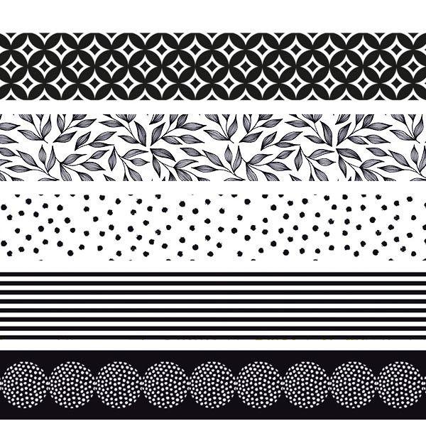 Assortiment 5 Masking tape noir et blanc -  Masking tape 15mm x5m -Collection Artemio Black & White
