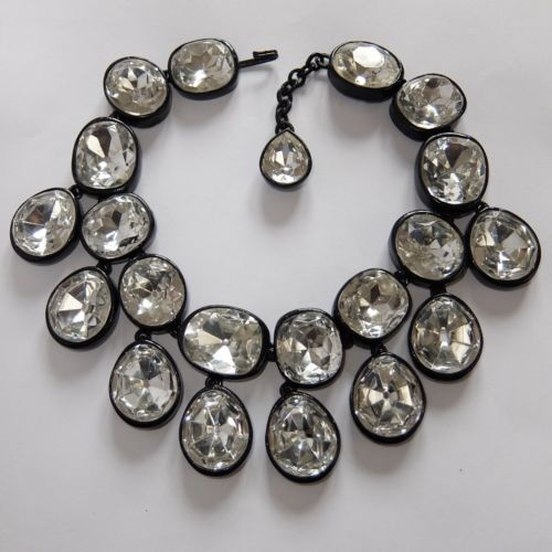 RARE-VINTAGE-KENNETH-JAY-LANE-CRYSTAL-RHINESTONE-HEADLIGHT-COLLAR-BIB-NECKLACE
