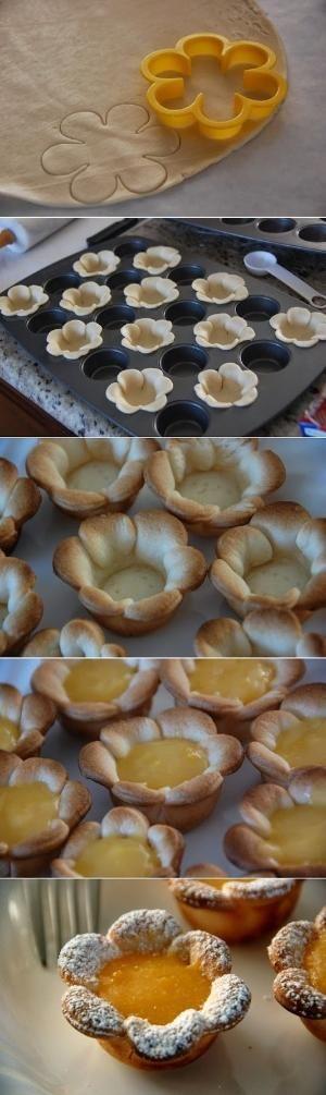 Flower shaped Mini Lemon Curd Tarts by surya amara