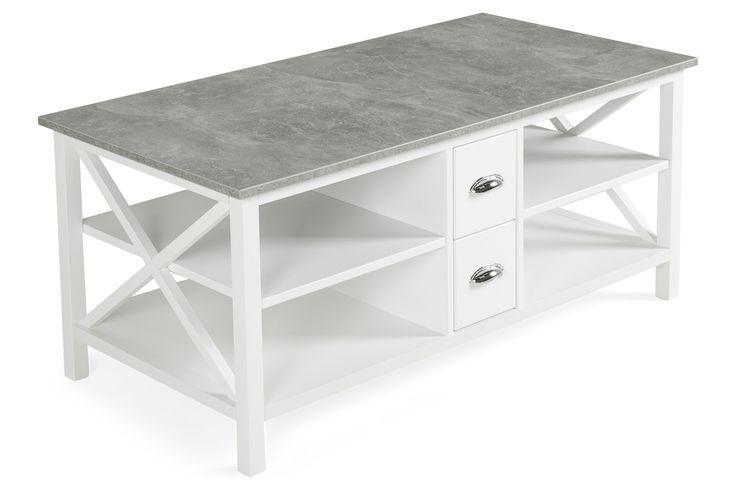 Mikael Soffbord med Lådor 120x60 cm Vit/Grå Betong