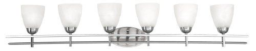 "Possini Deco Nickel 50 1/2"" Wide Six Light Bath Fixture by Possini Euro Design. $299.99. Takes six 60 watt bulbs (not included).. Brushed nickel finish.. Backplate is 8"" wide, 4 1/2"" high.. Extends 8 1/2"" from the wall.. Marbleized glass.. This contemporary-styled six light bathroom fixture will lighten and brighten up your bathroom. Features a satin chrome finish and marbleized glass."