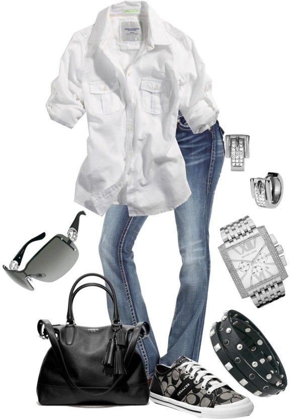 "White button down with sleeves rolled up, paired with denim jeans in a light wash. Add a pair of black & grey sneakers (Coach or Converse) and a black purse. Easy, simple, casual and still put together. (""Untitled #96"" by susanapereira on Polyvore)"