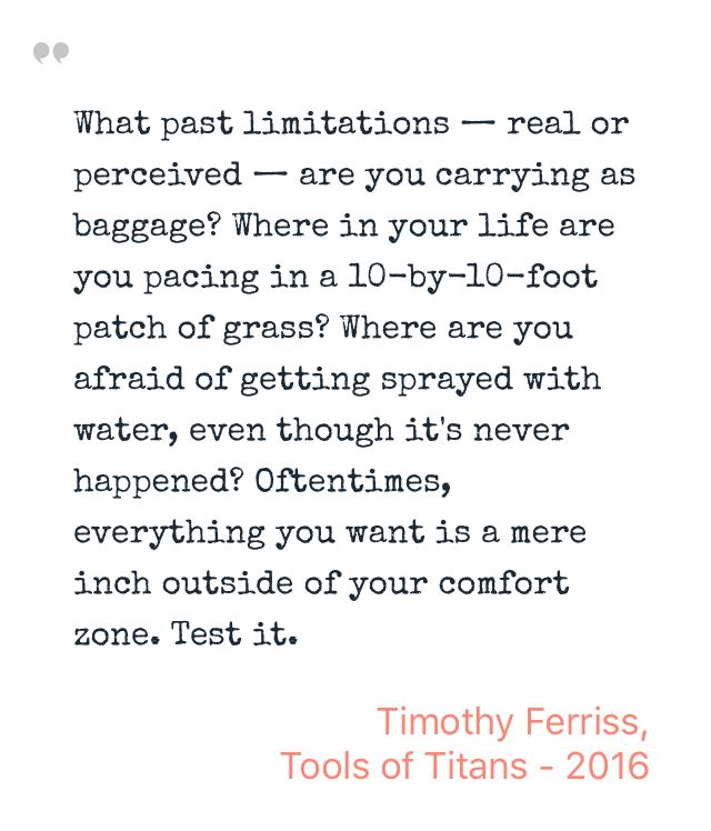 Inspiring Quote by Timothy Ferriss from Tools of Titans - Saved on @quotle