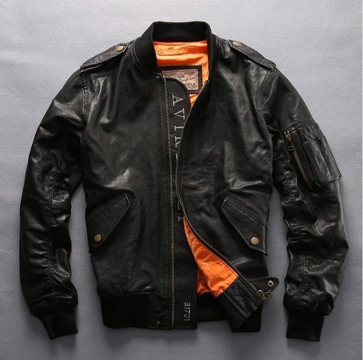 NEW ! Avirex fly fashion baseball jacket men army green genuine leather flight jacket men black red bomber jacket men's pilot co