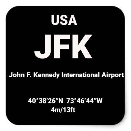 Airport Code Sicker - JFK NY USA Square Sticker - sticker stickers custom unique cool diy