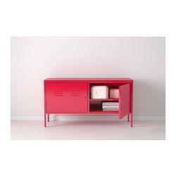 IKEA - IKEA PS, Mobile, rosso, , Il foro nella parte inferiore ti permette di raggruppare facilmente tutti i cavi.Le ante sono dotate di serratura per tenere al sicuro i tuoi documenti o oggetti personali.Grazie alle gambe alte è facile fare le pulizie.