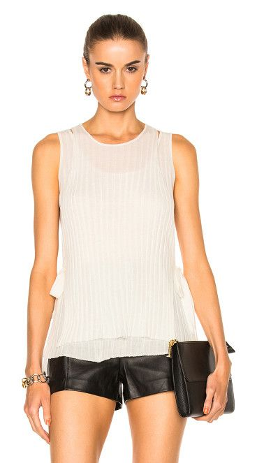 Tie Tank Top by Helmut Lang. 100% wool.  Made in China.  Dry clean only.  Rib knit fabric.  Side tie closures.