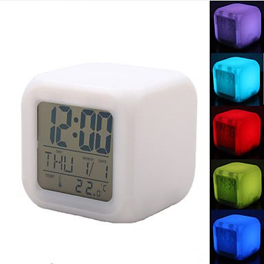 [BlackFridaySale]färgstarka glödande cubic digital väckarklocka kalender termometer (vit, 4xAAA) – SEK Kr. 78