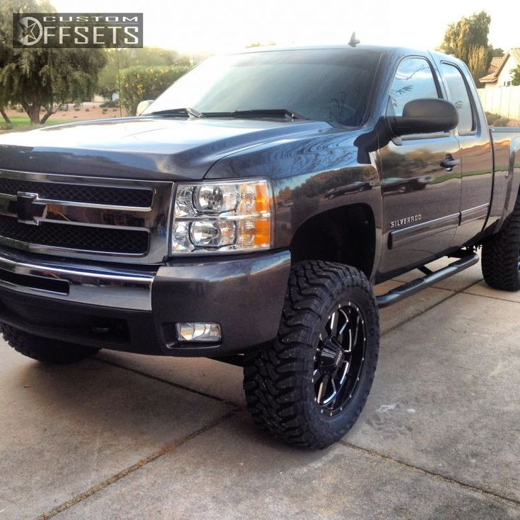Wheel Offset 2010 Chevrolet Silverado 1500 Aggressive 1 Outside Fender Suspension Lift 6 Custom Rims