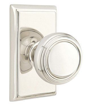 Emtek C820NW Norwich Classic Brass Privacy Door Knobset with the CF Mechanism Polished Nickel Knobset Privacy