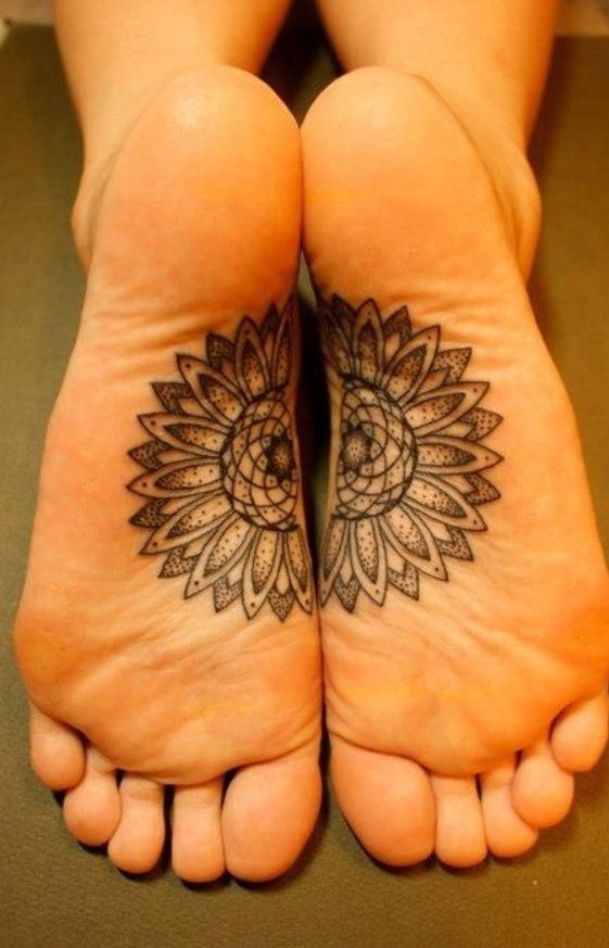 matching bottom of the feet tattoos