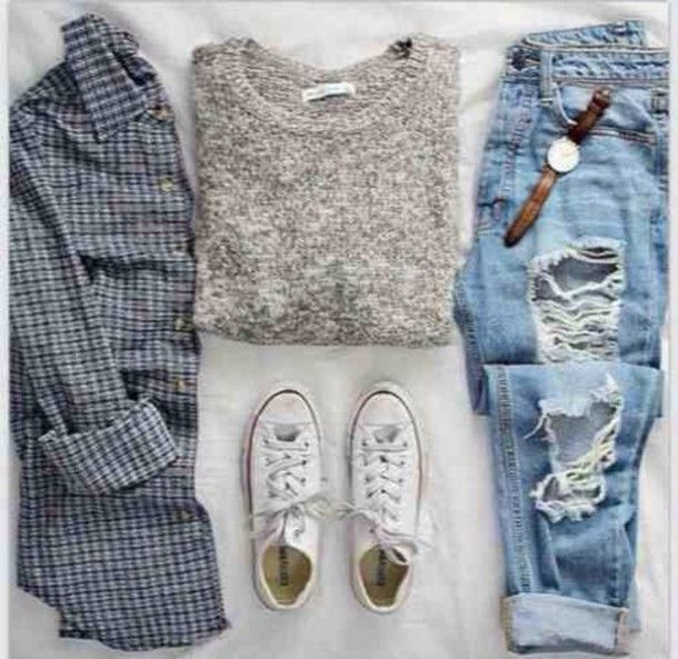 9 stylish school outfits with denim pants