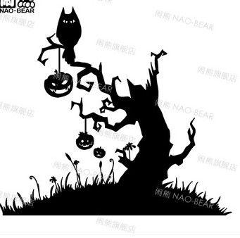 Хэллоуин Наклейки На Стены Тыквы bat кладбище Хэллоуин hallowmas Дерево стены стикеры стены декор Пвх наклейки на стены украшения дома