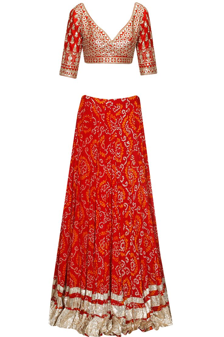 Red gota patti work bandhini lehenga set at Pernia's Pop Up Shop.