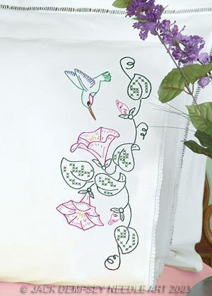 Hummingbird and Morning Glories Lace Edge Pillowcases