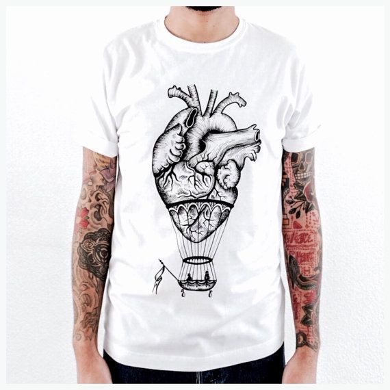 anatomical heart / hot air balloon T shirt for men, white.