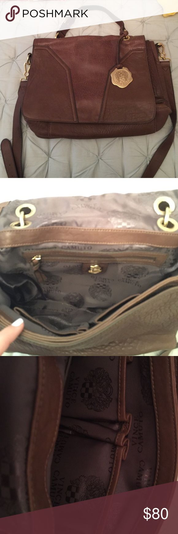Vince Camuto Bag Brown leather bag big and spacious. Back has a zipper and fits a big ipad very good condition never used!! Vince Camuto Bags Crossbody Bags