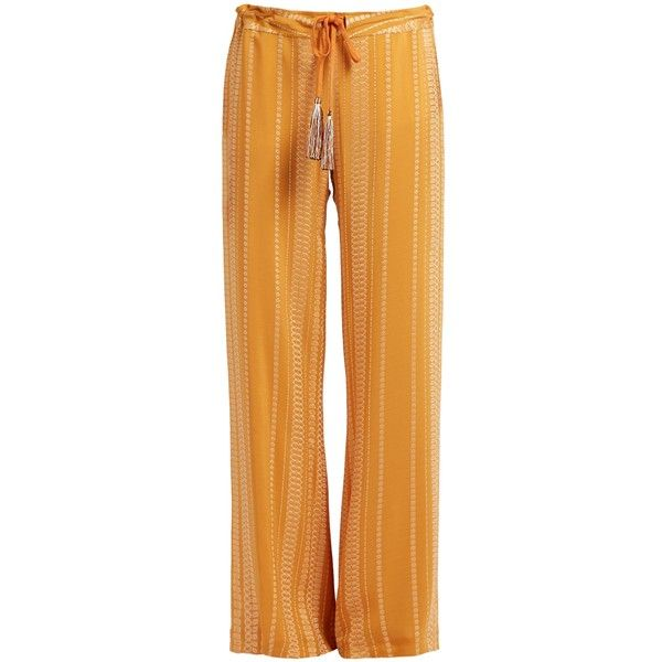 Zeus + Dione Alcestes embroidered wide-leg silk-blend trousers (7.081.870 IDR) ❤ liked on Polyvore featuring pants, orange, wide leg summer trousers, wide leg summer pants, wide leg trousers, orange cami and wide-leg pants